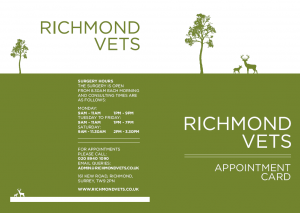 Richmond Vets appointment card