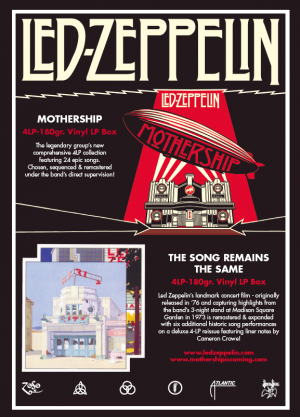 Led Zep! Advertising Warner Music Specialist Press Graphic Design and Production